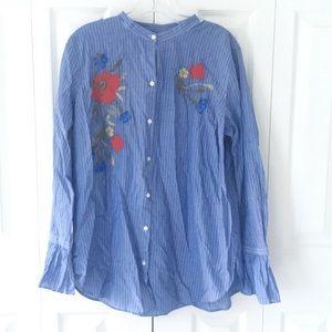 Women's floral striped button down shirt